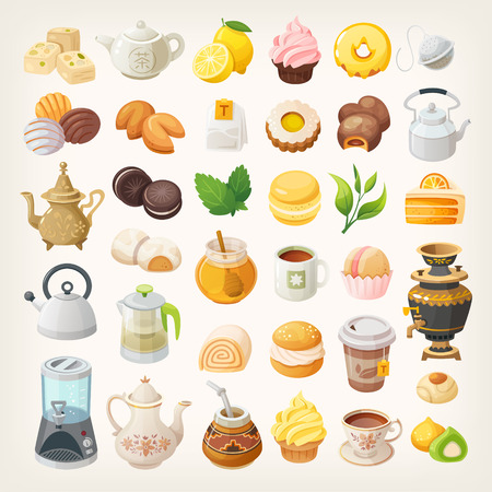 Set of vector icons. Tea cups, kettles and desserts. Tea additives and foods. Stock Illustratie