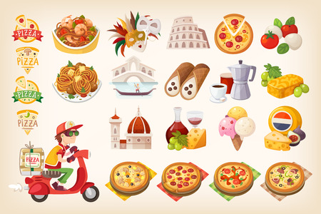 Set of colorful images of Italian elements. Stock Illustratie