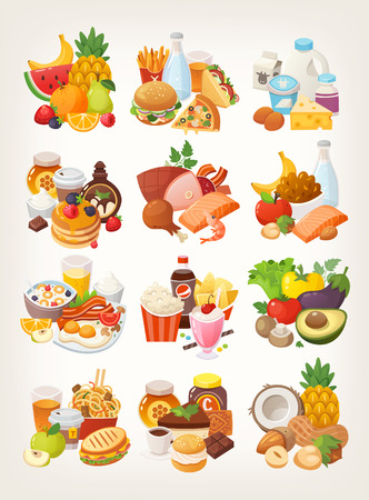 Set of food icons arranged in categories. Fruit and vegetables, meat and dairy, desserts and breakfast foods. Stock Illustratie