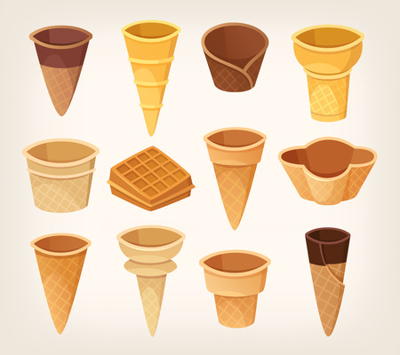 Variations of waffle cups and cones for ice cream.