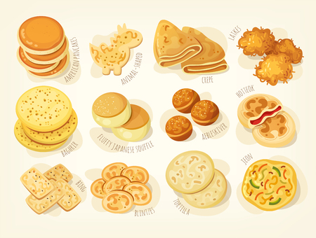 Various kinds and shapes of pancakes from different countries of the world.
