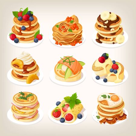 Set of tasty pancake dishes served for breakfast. Stock Illustratie
