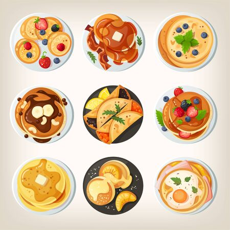 Set of delicious pancake dishes. Stock Illustratie