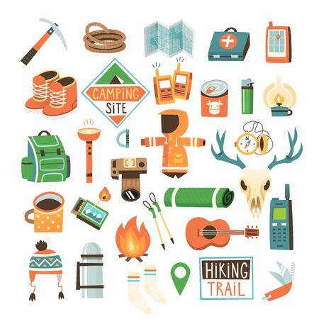 Colección de artículos para practicar senderismo, mochileros y viajes a la naturaleza. Ilustración de vector