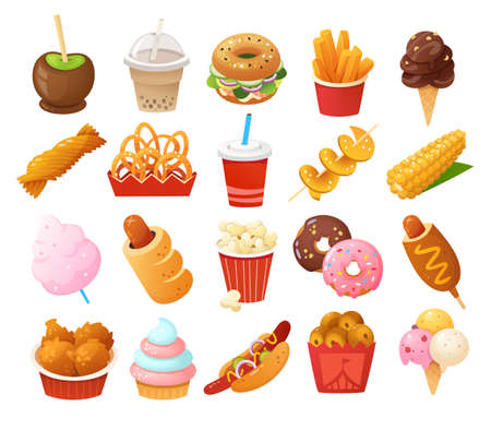 Street food images. Foods you normally find at fun fairs and outdoor festivals. Vector icons. Vetores
