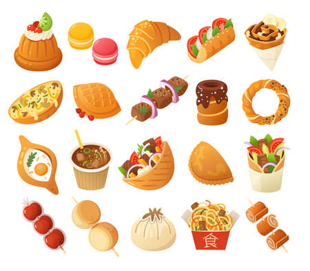 Street food images. French, Polish, Turkish and Chinese cuisines. Vector icons.