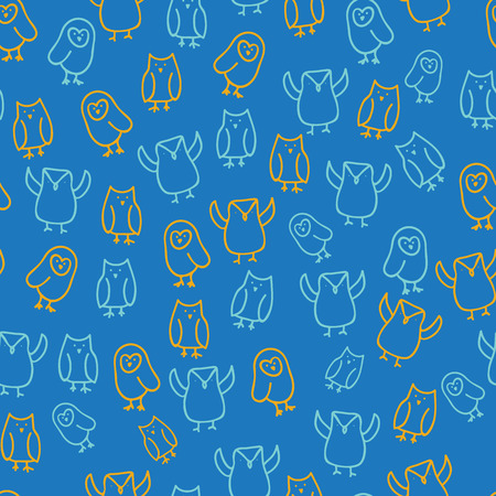 blue orange cute owl illustration seamless pattern design background. Perfect for nursery, fashion, textiles, stationery design and surface design. Illustration