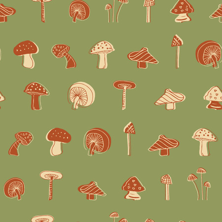 mushroom seamless pattern design. Perfect for restaurants, menu or packaging Standard-Bild - 124975699