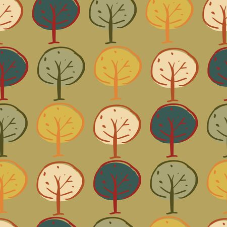 trees woodland seamless repeat pattern design. Perfect for textile design. Standard-Bild - 124650403