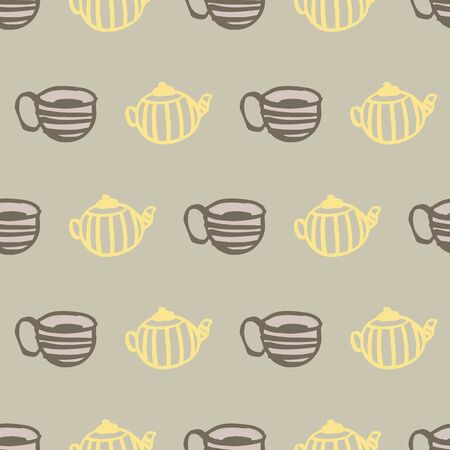 tea mug and cup seamless pattern design. Perfect for food and textile design Ilustrace