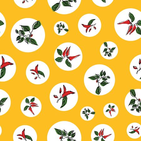 hot chilli pepper leaves seamless repeat pattern design. Great for kitchenware Stock Illustratie