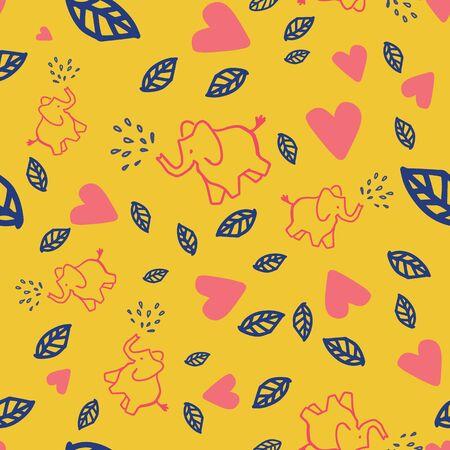 cute little elephants heart leaf seamless pattern design. Great for kids or nursery