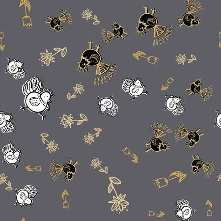 floral chicken seamless repeat pattern. Perfect for menu, easter and textile