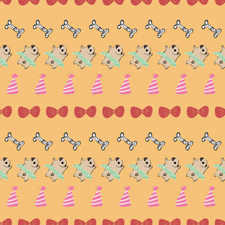 Pug Dog Bow Tie Tutu Party Hat Bone seamless pattern. Great for birthday, party, gift wrapping, wallpaper, textile and scrapbook