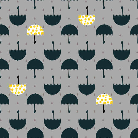 Umbrella Rain Drop Seamless Pattern. Vector illustration. Great for birthday, party, gift wrapping, wallpaper, textile and scrapbook