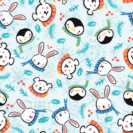 Penguin Polar Bear Bunny Rabbit Scarf Snowflake Christmas Seamless Pattern. Vector illustration. Perfect for Christmas, New Year, party, winter, fashion, decoration, gift wrapping, textile design, background, illustration, carpet and rug. Ilustração