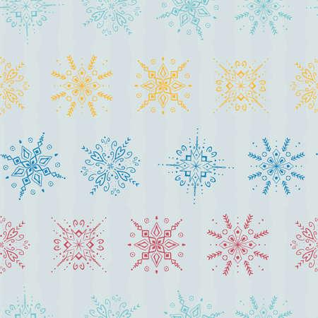 Snowflake Christmas Seamless Pattern. Vector illustration.