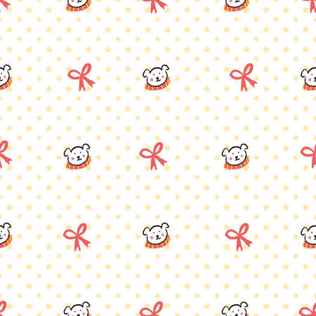 Polar Bear Scarf Ribbon Star Christmas Seamless Pattern. Vector illustration. Perfect for Christmas, New Year, party, winter, fashion, decoration, gift wrapping, textile design, background, illustration, carpet and rug.