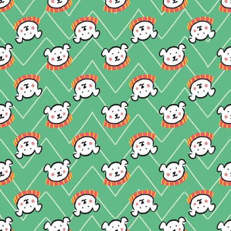 Polar Bear Scarf Christmas Seamless Pattern. Vector illustration. Иллюстрация