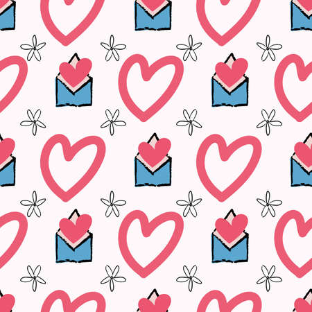 Valentine Love Heart Letter Envelope Flower Seamless Pattern. Vector illustration. Great for valentines, weddings, birthday, party, gift wrapping, wallpaper, textile and scrapbook