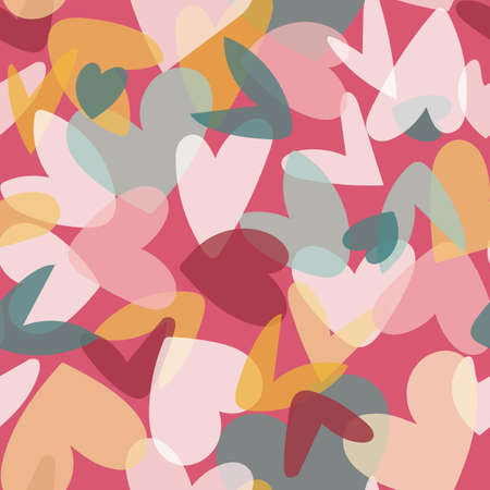 Valentine Love Heart Collage Seamless Pattern. Vector illustration. Great for valentines, weddings, birthday, party, gift wrapping, wallpaper, textile and scrapbook