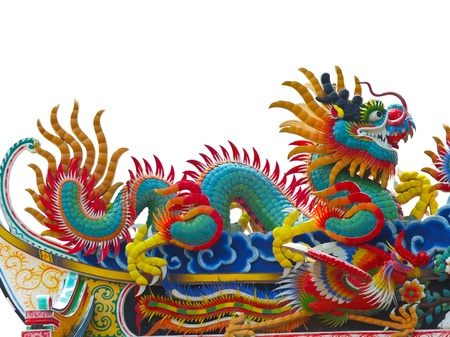 The colorful chinese dragon on the roof photo