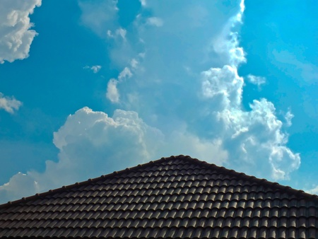 House roof with blue sky