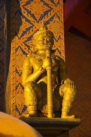 Golden giant statue in buddhist temple  Stock Photo