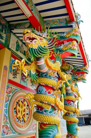 Colorful dragon on the pillar