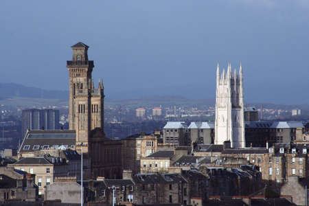 rise above: Two towers rise above Glasgows west end Stock Photo