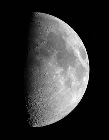 spaceflight: First quarter Moon, photographed on 2004-05-27 Stock Photo