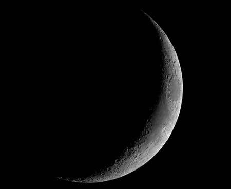 spaceflight: A four-day-old Moon, photographed on 2004-06-21 in its crescent phase, photographed through a 0.2-metre telescope Stock Photo