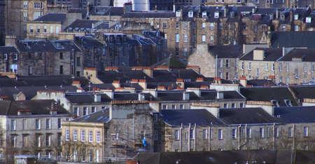long shot: Desidera il colpo dei tetti dellappartamento nellestremit� ad ovest di Glasgow Archivio Fotografico