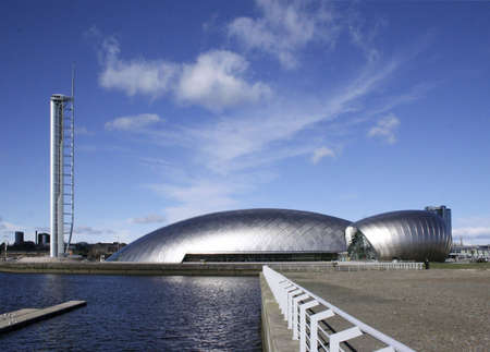 glint: The Glasgow Tower, Glasgow Science Centre and a Glasgow Cinema at Pacific Quay, River Clyde, Scotland
