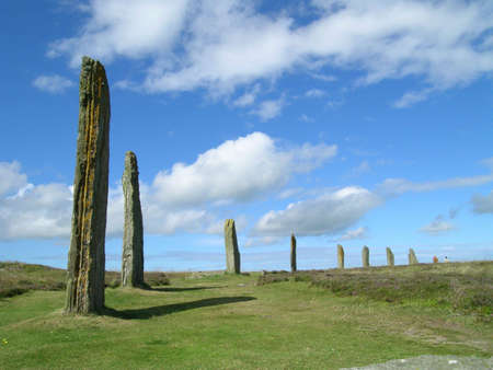 neolithic: A portion of the neolithic site, the Ring of Brodgar, on a summer day in Orkney.