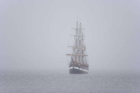 tall ship: Tall ship in the morning mist
