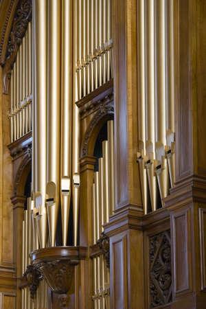 refurbished: Clustered organ pipes on refurbished organ