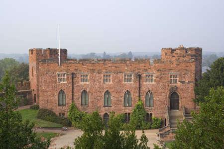 stoneworks: The red sandstone walls of Shrewsbury Castle Stock Photo