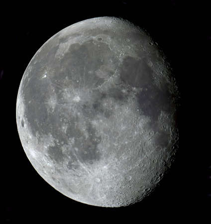 gibbous: An 18-day-old Moon in its gibbous phase in true colour Stock Photo