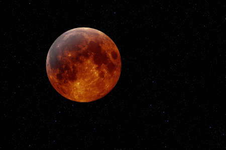 Artificial mockup of a lunar eclipse against a starry background