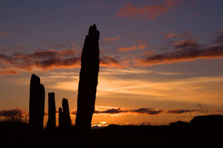 neolithic: A portion of the neolithic site, the Ring of Brodgar in Orkney at sunset.