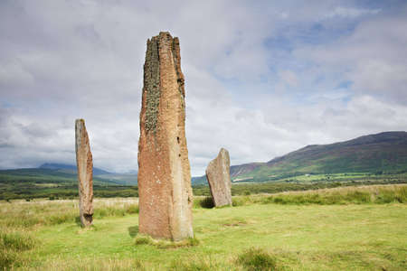 Standing stones at Machrie in Arran, Scotland photo