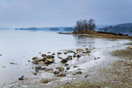 awe: Wintery shoreline of Loch Awe in Scotland