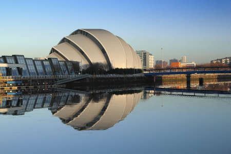 glasgow: Glasgows Armadillo in winter sunshine reflected off River Clyde Editorial
