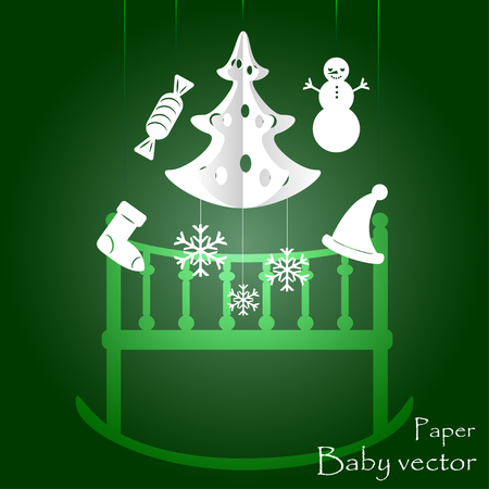 Childrens mobile for baby on Christmas Illustration