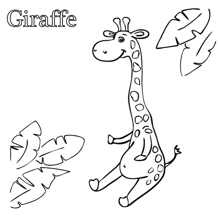 giraffe coloring pages for children eps 10 royalty free cliparts