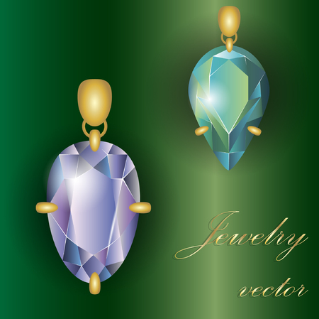 Precious stones, jewelry in a frame Illustration