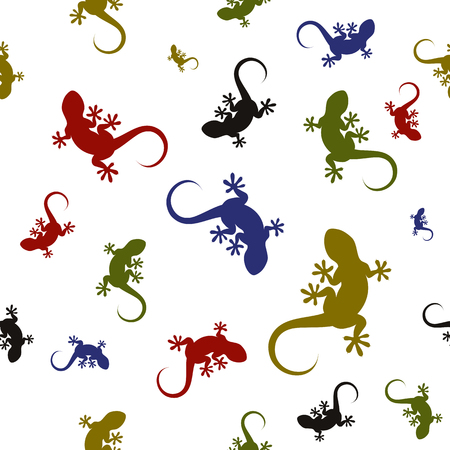 Colorful seamless pattern with lizards. Vectores