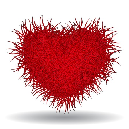 Big hot red spiked heart. Gothic style, 3d effect, vector illustration isolated on white background
