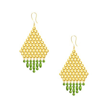 Gold earrings with many small yellow pellets, green beads and droplets, isolated vector illustration on white background.